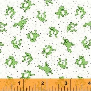 Storybook Flannel - green frogs on white