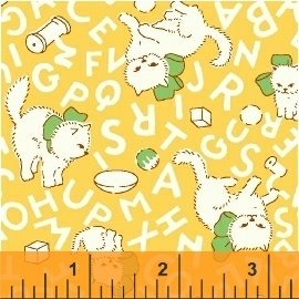 Storybook Flannel - playing cats on yellow