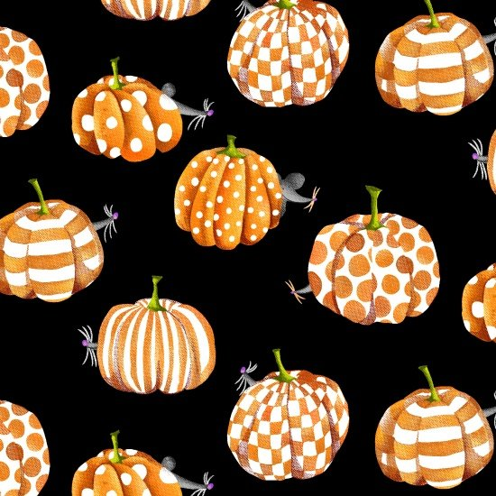 Mice hiding behind pumpkins on black