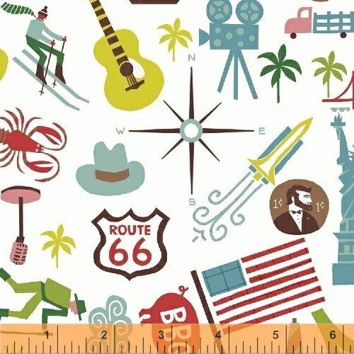Coast to Coast - United States icons on white