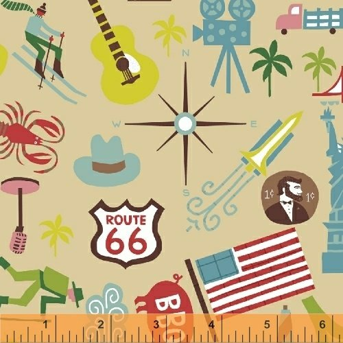 Coast to Coast - United States icons on tan