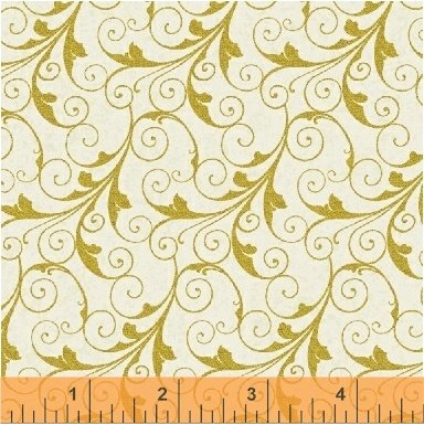 Deck the Halls - gold scrollwork on cream