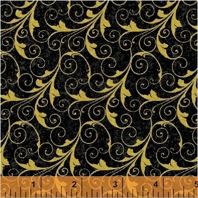 Deck the Halls - gold scrollwork on black