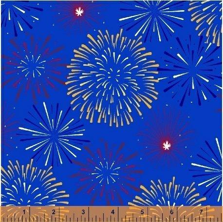 Lady Liberty - fireworks on blue