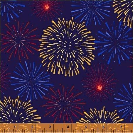 Lady Liberty - fireworks on royal blue