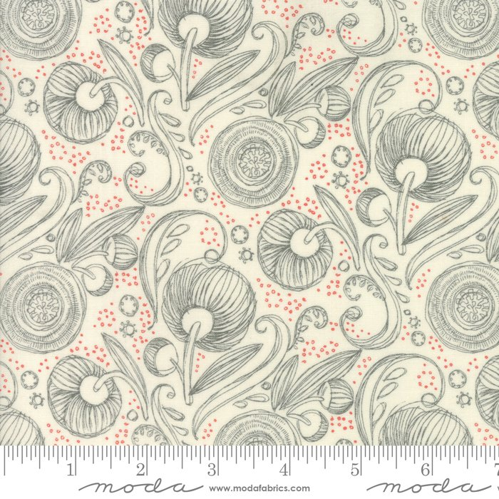Blushing Peonies - gray flowers on tan with dots