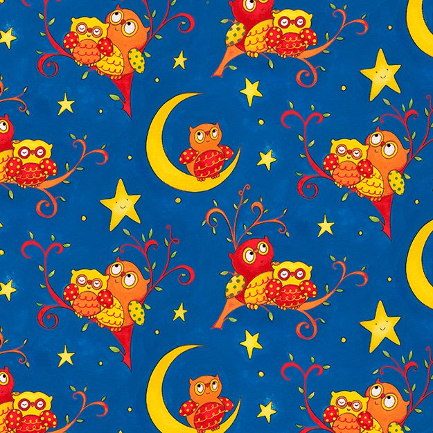 Rhyme Time - owls on crescent moon with blue background