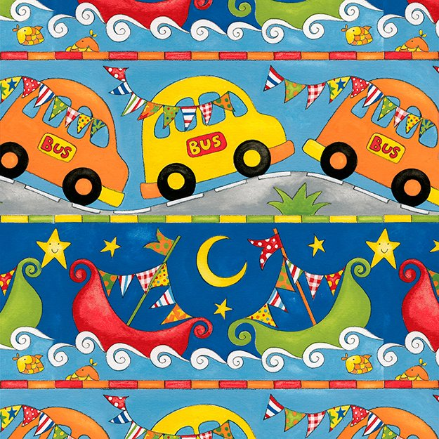 Rhyme Time - Repeating stripe - fun cars and ships