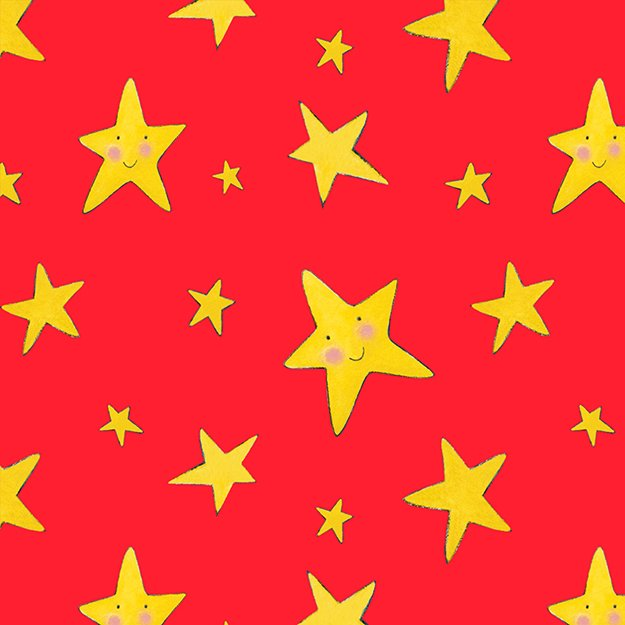 Rhyme Time - yellow stars on red