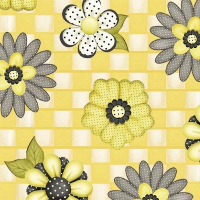 Honey Be Mine - flowers on yellow check