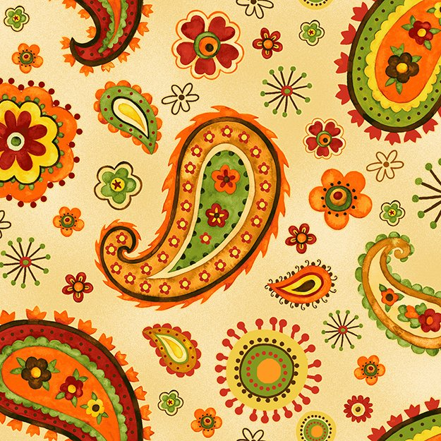 Harvest at Millbrook Farm - colorful paisley on cream