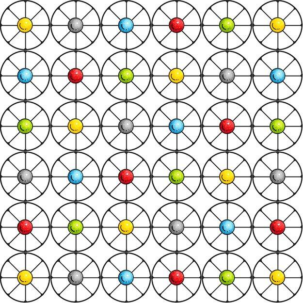 Monkey Around - circle and dots on white