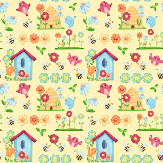 Birds 'N Bees - flowers, birds and birdhouses on yellow