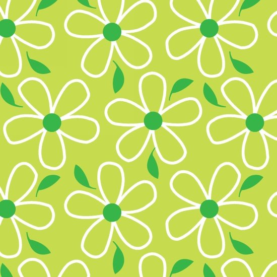 Quilt Camp - flowers on lime green