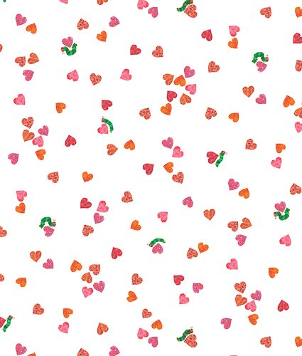 The Very Hungry Caterpillar - I Love You -  smaller scattered hearts on white