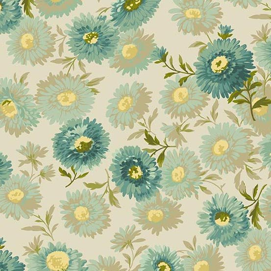 Sequoia - turquoise and yellow flowers on cream