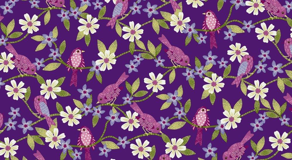 Bonita - flowers on vines with birds on purple