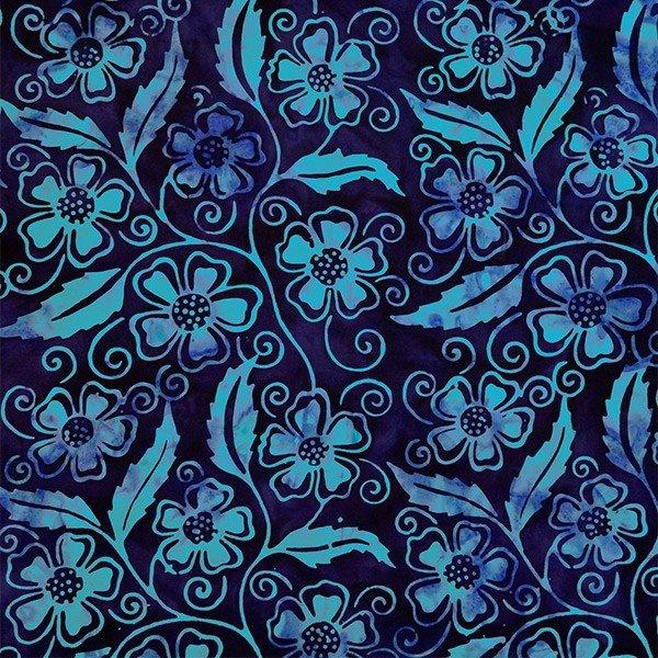 Batik by Mirah - star bright - blue flowers on deep purple