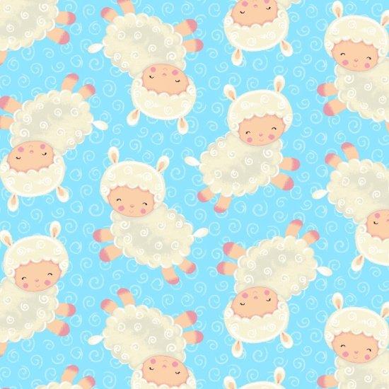Spring Fling - fluffy lambs on blue