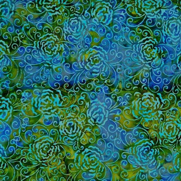 Batik by Mirah Z - blue/green with flowers