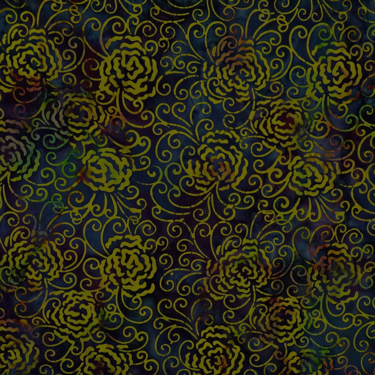 Batik by Mirah - Riviera - yellow flowers on blue/green