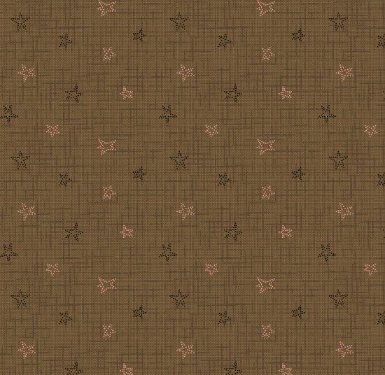 Cherry Blossoms - textured stars on khaki