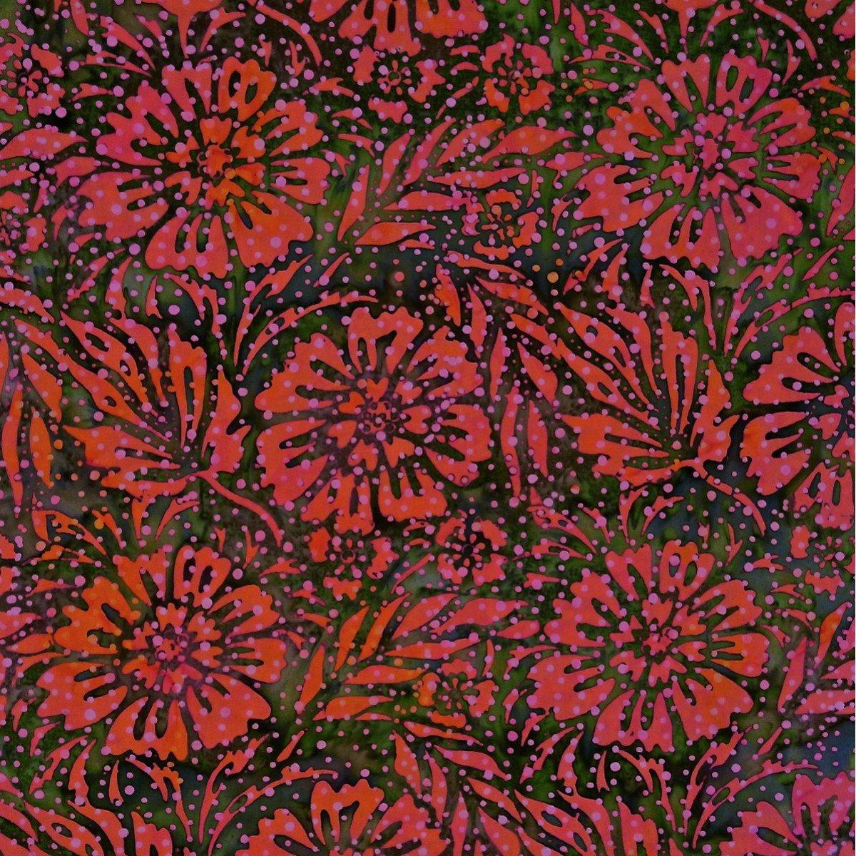 Batik by Mirah - Bazaar - red flowers on green