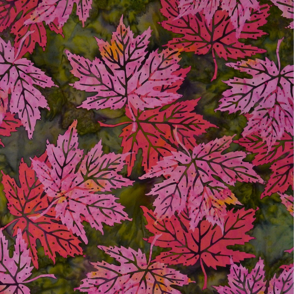 Batik by Mirah - bazaar - red & pink flowers on green