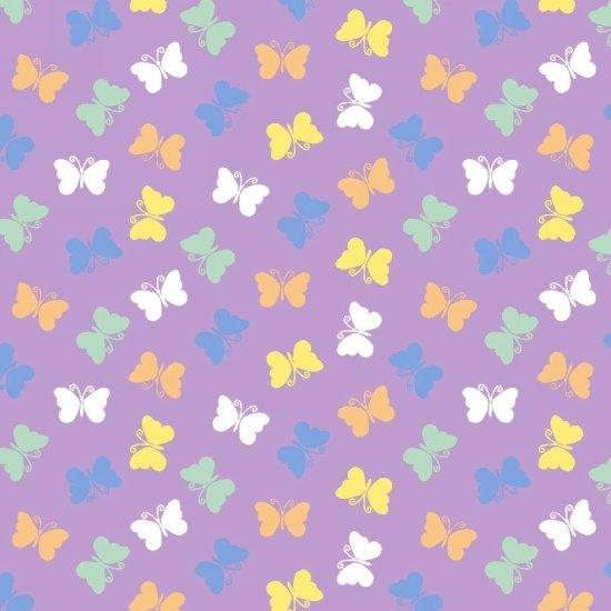 Retro Charm  - smaller butterflies scattered on purple