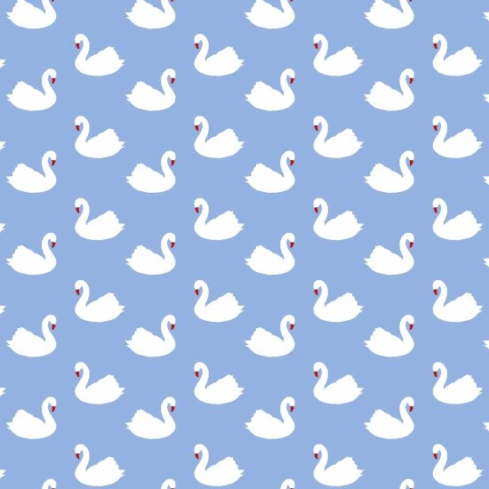 Retro Charm  - smaller swans scattered on blue