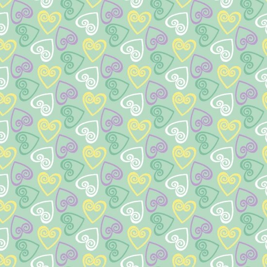 Retro Charm  - smaller hearts scattered on mint green