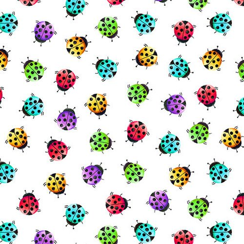 Bugs Galore - colorful lady bugs on white