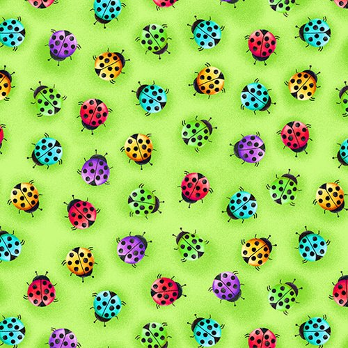 Bugs Galore - colorful lady bugs on green
