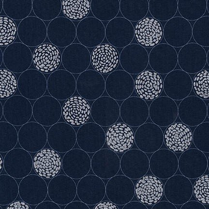 Shimmer 2 - navy with silver circles