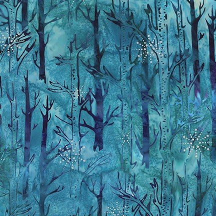 Northernwoods 7 - blue & purple forest pattern with silver snowflakes