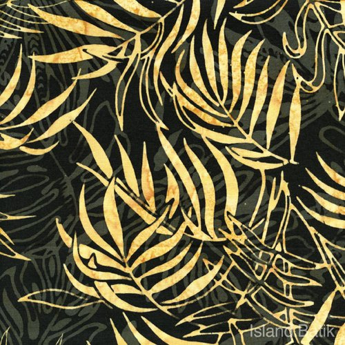 island Batik - black with gold ferns
