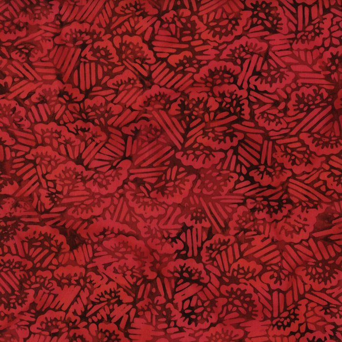 Island Batik - red with flowers