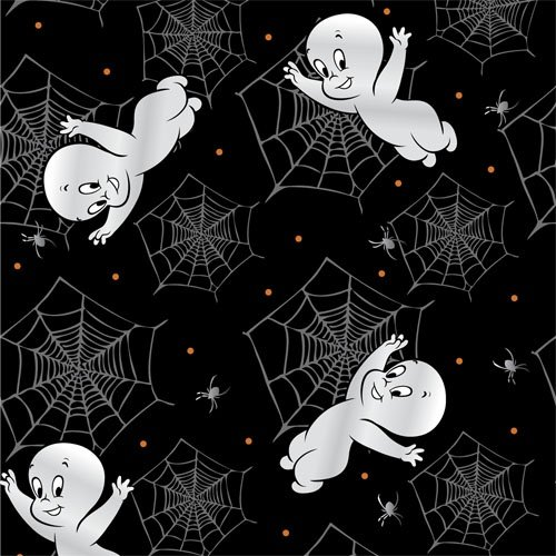 Creepy Cute - Casper flying amongst spider webs on black