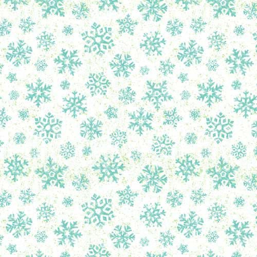 Owl be Home For Christmas - blue snowflakes & green speckles on white