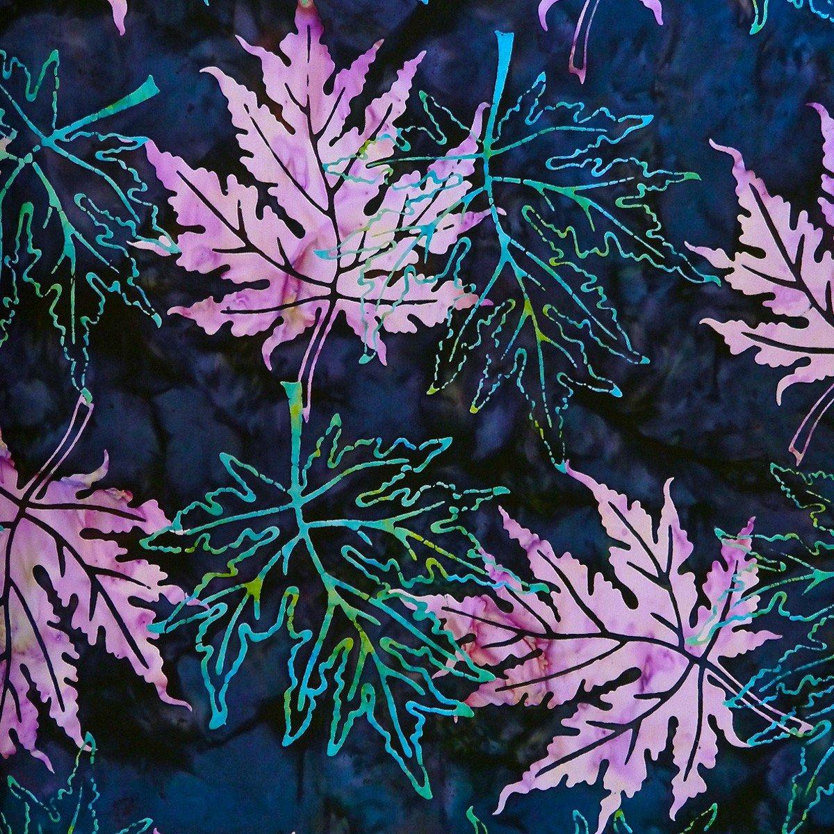 Batik by Mirah - Blue Quest - purple leaves on blue