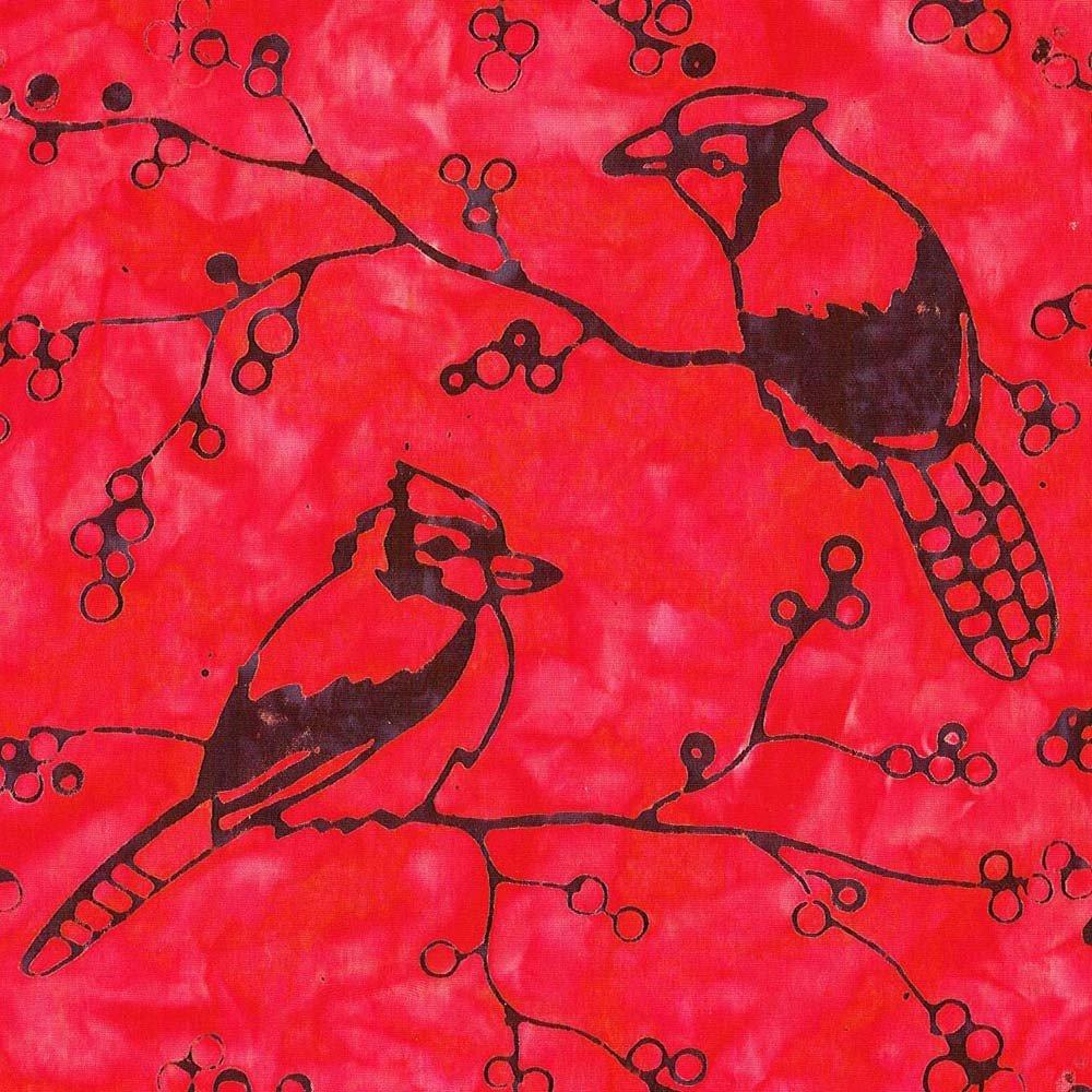 Cantik Batiks - black cardinals on red