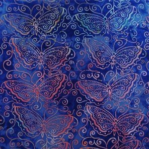 Batik by Mirah - butterflies on blue