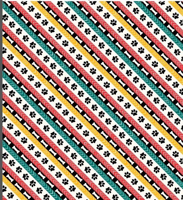 Dog Wisdom - bones and pawprints in colorful diagonal