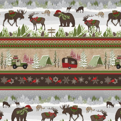 Woodland Haven - Christmas camping - repeating stripe2ply flannel