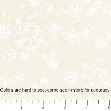 Enchanted Forest - flannel - white snowflakes on light yellow