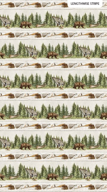 Lakeside Lodge - flannel - lakeside scenes - repeating stripe