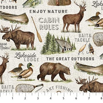 Lakeside Lodge - flannel - lakeside animals and equipment - light background