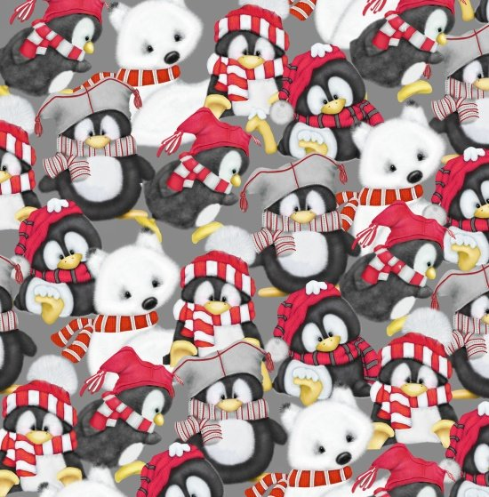 Artic Antics Flannel - scattered penquins and polar bears on gray