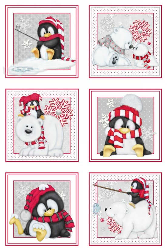 Artic Antics Flannel - penquins and polar bears in small frames