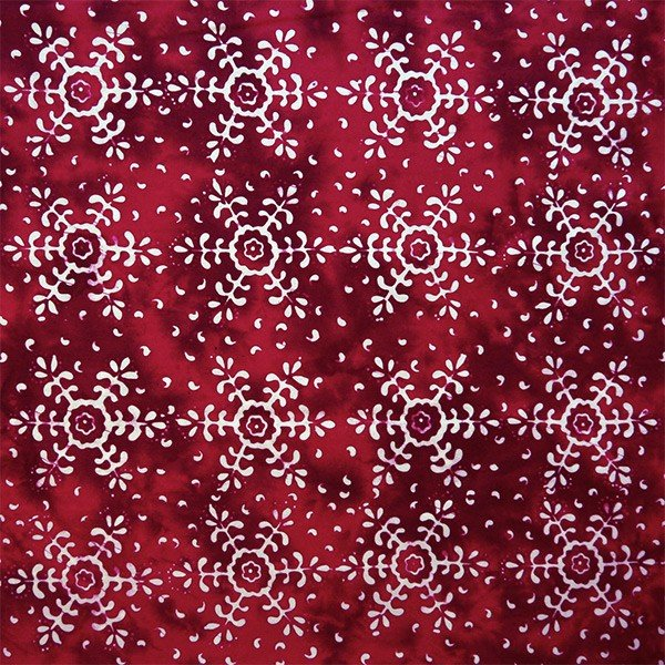 Batiks by Mirah - snowflakes on red